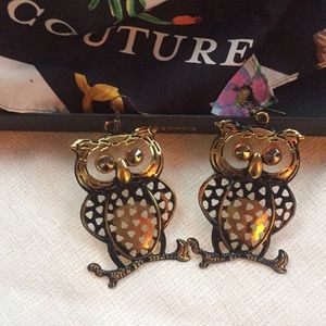 Rustic Gold Owl Dangling Earrings FASHION brand